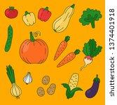 vegetables doodle cartoon icons ... | Shutterstock .eps vector #1374401918