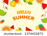 summer colorful fruits... | Shutterstock .eps vector #1374432872