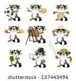 nice set of cartoon raccoons | Shutterstock .eps vector #137443496