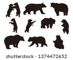 bear silhouette icon logo set   Shutterstock .eps vector #1374472652