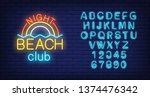 night beach club lettering and... | Shutterstock .eps vector #1374476342