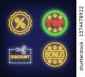 discount stickers neon sign set....   Shutterstock .eps vector #1374478922