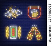 beer pub neon sign set....   Shutterstock .eps vector #1374480035