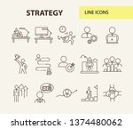 strategy line icon set.... | Shutterstock .eps vector #1374480062