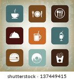 menu icons over vintage... | Shutterstock .eps vector #137449415