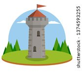stone tower. red roof with flag.... | Shutterstock .eps vector #1374593255
