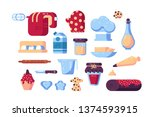 set of confectioner tools and... | Shutterstock .eps vector #1374593915