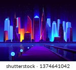 future metropolis seafront with ... | Shutterstock .eps vector #1374641042