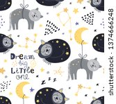 seamless pattern with sleeping... | Shutterstock .eps vector #1374666248