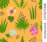 seamless pattern with tropical... | Shutterstock .eps vector #1374672308