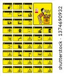 set of mandatory sign  hazard... | Shutterstock .eps vector #1374690932