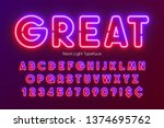 neon light alphabet ... | Shutterstock .eps vector #1374695762