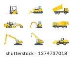 heavy truck construction set... | Shutterstock .eps vector #1374737018