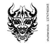 angry devil samurai ronin head... | Shutterstock .eps vector #1374740345