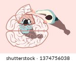 man trapped in a brain shaped... | Shutterstock .eps vector #1374756038