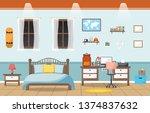 student study desk table... | Shutterstock .eps vector #1374837632