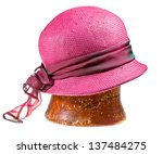 Woman Straw Pink Hat On Wooden...