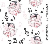 seamless pattern with cute... | Shutterstock .eps vector #1374863225