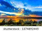 sunset river horizon landscape. ... | Shutterstock . vector #1374892445