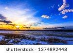 sunset river landscape. river... | Shutterstock . vector #1374892448