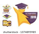 academic hat happy graduation... | Shutterstock .eps vector #1374895985