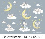 set of cute cartoon mouses.... | Shutterstock .eps vector #1374912782