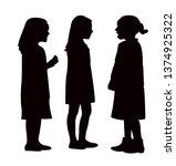 girls talking silhouette vector | Shutterstock .eps vector #1374925322