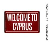 welcome to cyprus vintage rusty ... | Shutterstock .eps vector #1374942908