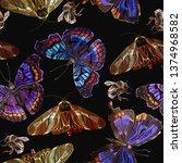 embroidery butterflies seamless ... | Shutterstock .eps vector #1374968582