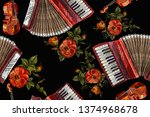 embroidery accordion and roses... | Shutterstock .eps vector #1374968678