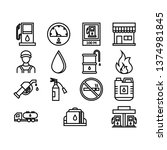gas station icon set with... | Shutterstock .eps vector #1374981845