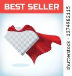 red hero cape. super cloak. red ... | Shutterstock .eps vector #1374982115