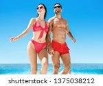 young couple having fun on a... | Shutterstock . vector #1375038212