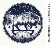 Wyoming. Tattoo and t-shirt design. Welcome to Wyoming, (USA). Cowboy state slogan. Travel art concept