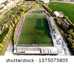 Small photo of Football soccer field with a one side small tribune