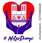 notre dame cathedral... | Shutterstock .eps vector #1375080668