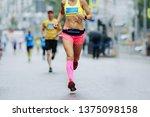 woman runner running city... | Shutterstock . vector #1375098158