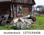 old wooden rural house with... | Shutterstock . vector #1375196408