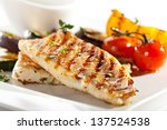 Grilled fish fillet with bbq...