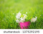 bouquet of white spring flowers ... | Shutterstock . vector #1375292195