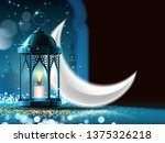 mosque window at night and eid... | Shutterstock . vector #1375326218