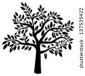 silhouette of tree on white...   Shutterstock .eps vector #137535422