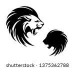 roaring lion with long mane... | Shutterstock .eps vector #1375362788