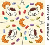 seamless pattern with  french... | Shutterstock .eps vector #137536556
