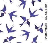 swallow bird pattern | Shutterstock . vector #1375371485