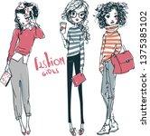 cute fashion girls   Shutterstock .eps vector #1375385102
