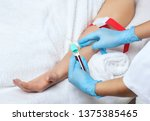 the procedure for taking blood... | Shutterstock . vector #1375385465