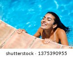 beautiful arab woman relaxing...   Shutterstock . vector #1375390955