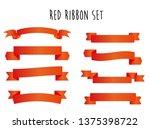 red ribbon banner design set... | Shutterstock .eps vector #1375398722