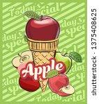 apple ice cream scoop in cones. ... | Shutterstock .eps vector #1375408625